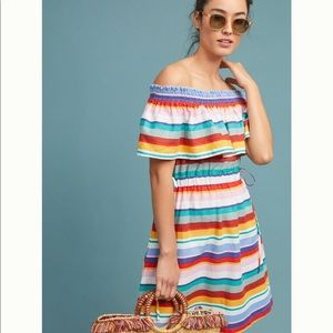 Anthropologie off the shoulders striped dress